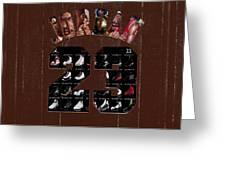 Michael Jordan Wood Art 2h Greeting Card