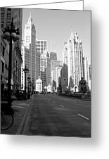Michigan Ave Tall B-w Greeting Card