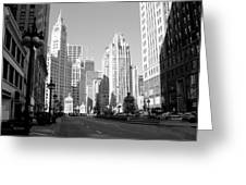Michigan Ave Wide B-w Greeting Card