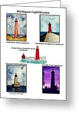Michigan Lighthouses Montage Greeting Card