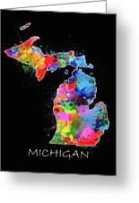 Michigan Map Color Splatter 2 Greeting Card