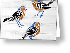 Michigan Robins State Bird Recycled Vintage License Plate Art On White Barn Wood Greeting Card