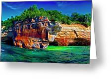 Michigan  Up Pictured Rock Kayakers 9060900109 Greeting Card