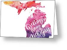 Michigan watercolor map greetings from michigan hand lettering michigan watercolor map greetings from michigan hand lettering greeting card m4hsunfo Images