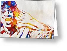 Mick Jagger Abstract Greeting Card