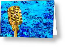 Microphone On Blues Fire Greeting Card