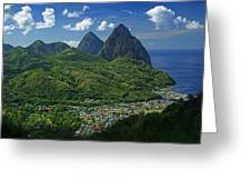 Midday- Pitons- St Lucia Greeting Card by Chester Williams