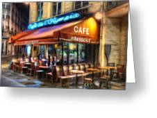 Midnight At The Brasserie Greeting Card