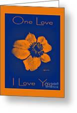 Midnight Orange Passion Flower Greeting Card