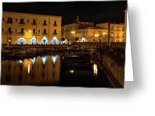 Midnight Silence And Solitude - Syracuse Sicily Illuminated Waterfront Greeting Card