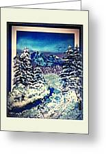Midnight Winter Mountain Greeting Card