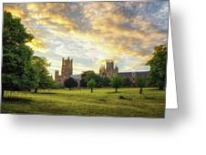 Midsummer Evening In Ely Greeting Card