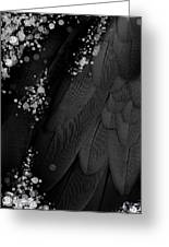 Midsummer Magik Quicksilver, Diamonds, Abstract Feathers, Silver Sparkles Greeting Card