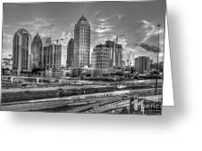Midtown Atlanta Dusk B W Atlanta Construction Art Greeting Card