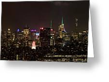 Midtown West Manhattan Skyline Aerial At Night Greeting Card