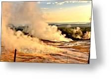 Midway Geyser Basin Steamy Sunrise Greeting Card