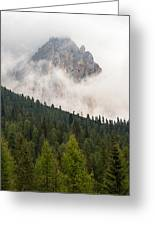 Mighty Dolomite Peaking Through The Clouds Greeting Card