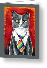 Mika - Gray Tuxedo Cat Painting Greeting Card