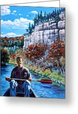 Mike On Float Trip Greeting Card by John Lautermilch