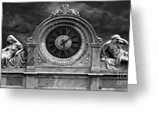 Milan Clock In Black And White Greeting Card
