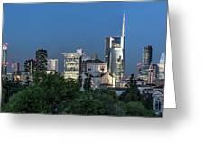 Milan Skyline By Night, Italy Greeting Card