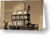Miles City, Montana - Bison Bar Sepia Greeting Card