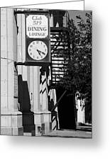 Miles City, Montana - Downtown Clock Bw Greeting Card