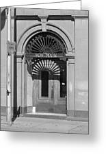 Miles City, Montana - Downtown Entrance Bw Greeting Card