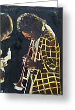 Miles Davis And A Guitar Player  Greeting Card