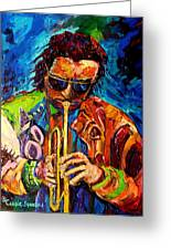 Miles Davis Hot Jazz Portraits By Carole Spandau Greeting Card