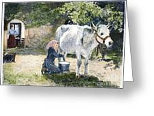Milking, 19th Century Greeting Card