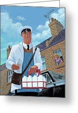 Milkman On Daily Milk Delivery In Urban Old Street Greeting Card