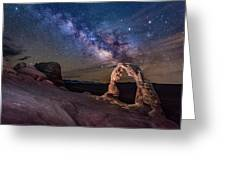 Milky Way And Delicate Arch Greeting Card