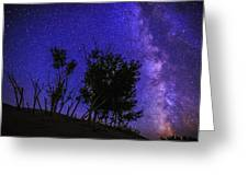 Milky Way And Silhouette Trees At Bruneau Dunes State Park Idaho Greeting Card