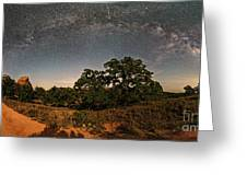 Milky Way Arch Over Enchanted Rock State Natural Area - Fredericksburg Texas Hill Country Greeting Card