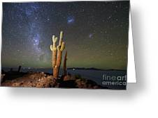 Milky Way Magellanic Clouds And Giant Cactus Incahuasi Island Bolivia Greeting Card