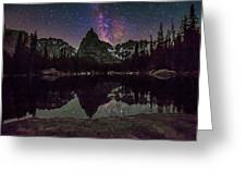 Milky Way Over Lone Eagle Peak And Mirror Lake Greeting Card