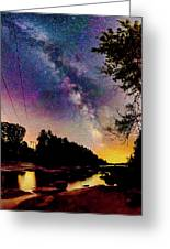 Milky Way Over The Saco River Maine  Greeting Card