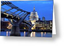 Millennium Bridge And St Pauls Cathedral Greeting Card