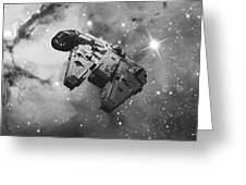 Millennium Falcon And Cosmos Greeting Card
