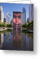 Millennium Park Fountain And Chicago Skyline Greeting Card