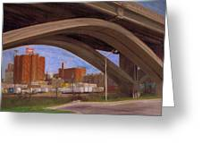 Miller Brewery Viewed Under Bridge Greeting Card