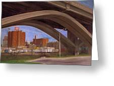 Miller Brewery Viewed Under Bridge Greeting Card