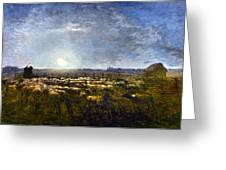 Millet: Sheep By Moonlight Greeting Card