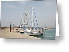 Milos Harbour On Agistri Greeting Card