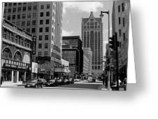 Milwaukee Street Scene B-w Greeting Card