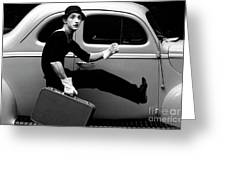 Mime Running Along Side Of Classic Hot Rod Greeting Card