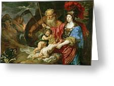 Minerva And Saturn Protecting Art And Science From Envy And Lies  Greeting Card