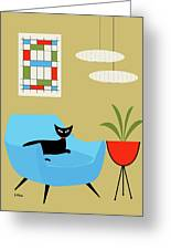 Mini Abstract With Turquoise Chair Greeting Card