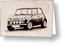 Mini Cooper Sketch Greeting Card by Michael Tompsett